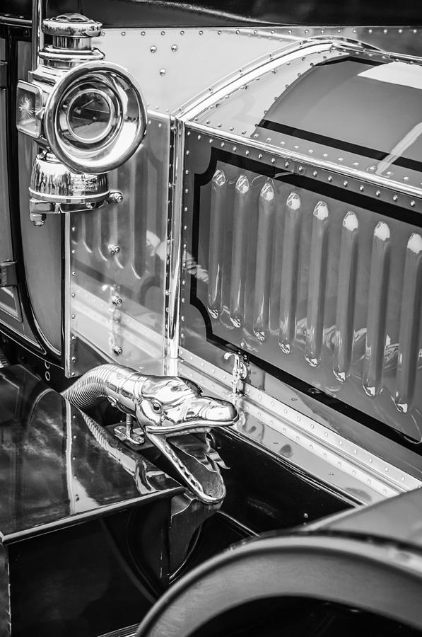 Bw Photograph - 1912 Rolls-royce Silver Ghost Rothchild Et Fils Style Limousine Snake Horn -0711bw by Jill Reger