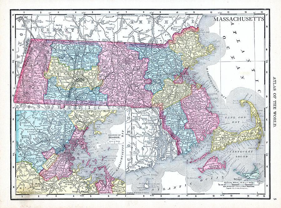 1913, Massachusetts, World Atlas by Historic Map Works LLC