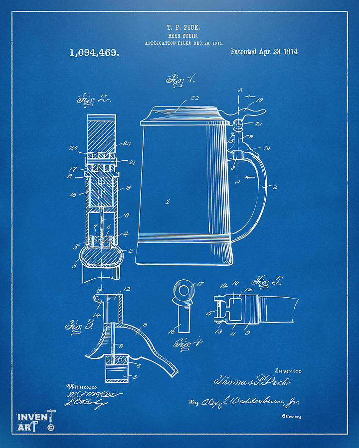 Beer Stein Digital Art - 1914 Beer Stein Patent Artwork - Blueprint by Nikki Marie Smith