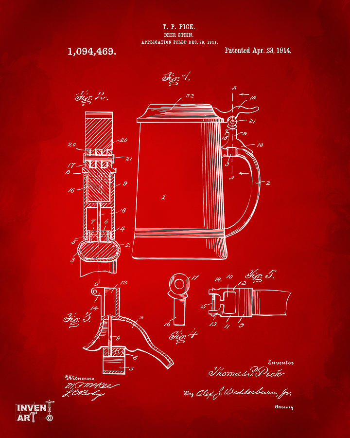 Beer Stein Drawing - 1914 Beer Stein Patent Artwork - Red by Nikki Marie Smith