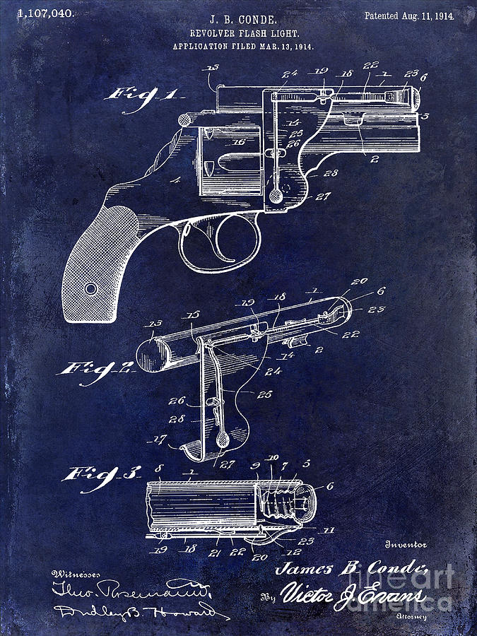 Colt Revolver Photograph - 1914 Revolver Light Patent Drawing  Blue by Jon Neidert