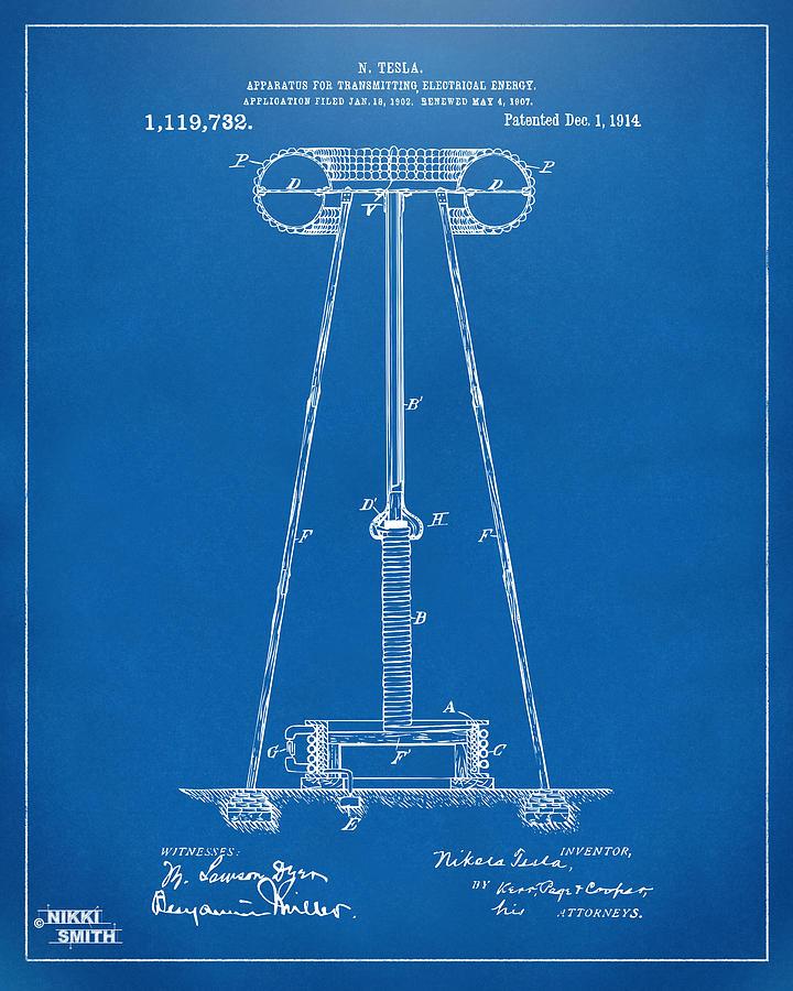 1914 tesla transmitter patent artwork blueprint digital art by tesla digital art 1914 tesla transmitter patent artwork blueprint by nikki marie smith malvernweather Choice Image