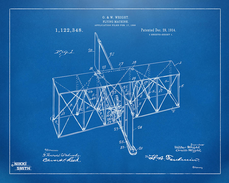 1914 wright brothers flying machine patent blueprint digital art wright brothers digital art 1914 wright brothers flying machine patent blueprint by nikki marie smith malvernweather Images