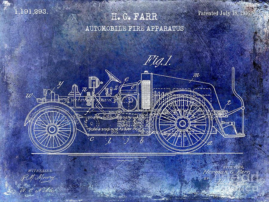 Patent Drawing Photograph - 1916 Automobile Fire Apparatus Patent Drawing Lt Blue by Jon Neidert