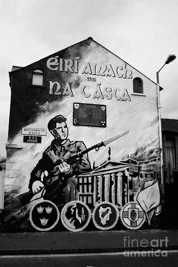 Ireland Photograph - 1916 Dublin Easter Rising Commemoration Republican Wall Mural Beechmount Rpg Belfast by Joe Fox