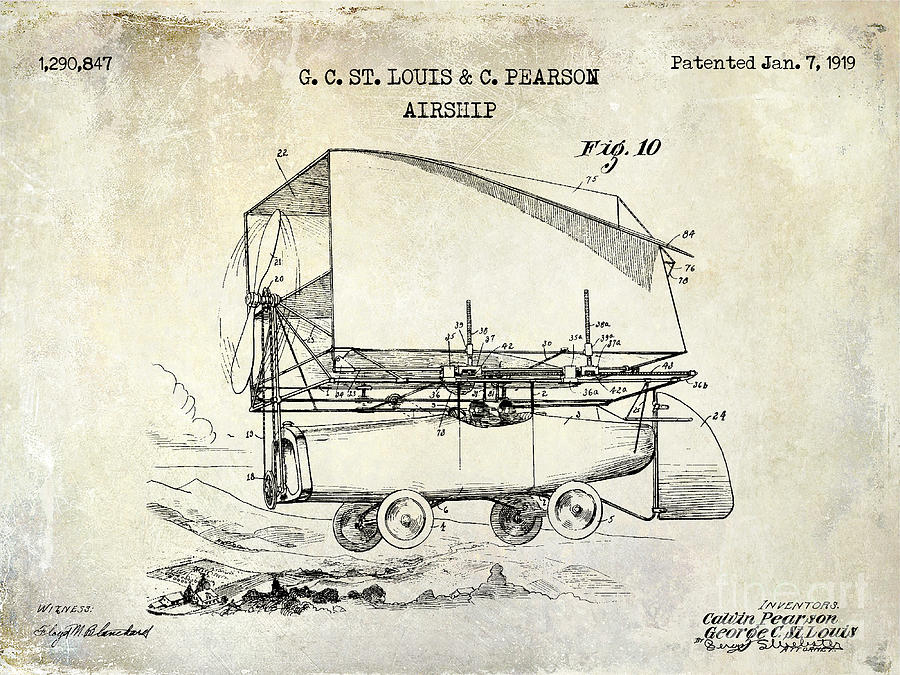 1919 Drawing - 1919 Airship Patent Drawing by Jon Neidert