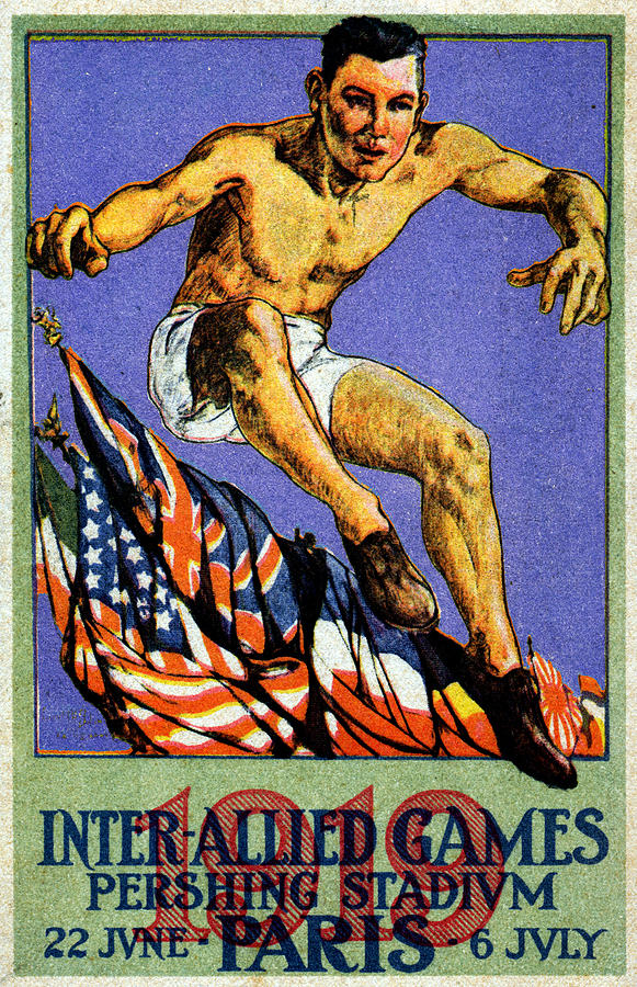 Vintage Painting - 1919 Allied Games Poster by Historic Image