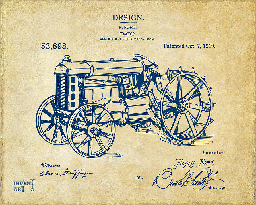 Henry Ford Digital Art - 1919 Henry Ford Tractor Patent Vintage by Nikki Marie Smith
