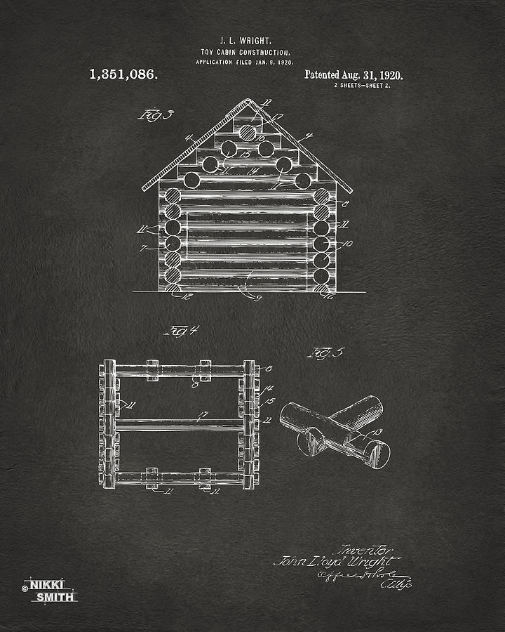 Lincoln Logs Digital Art - 1920 Lincoln Log Cabin Patent Artwork - Gray by Nikki Marie Smith
