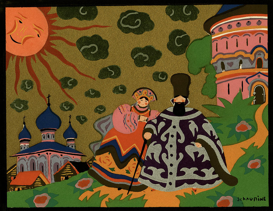 1920s 1930s Art Deco Painting Russian