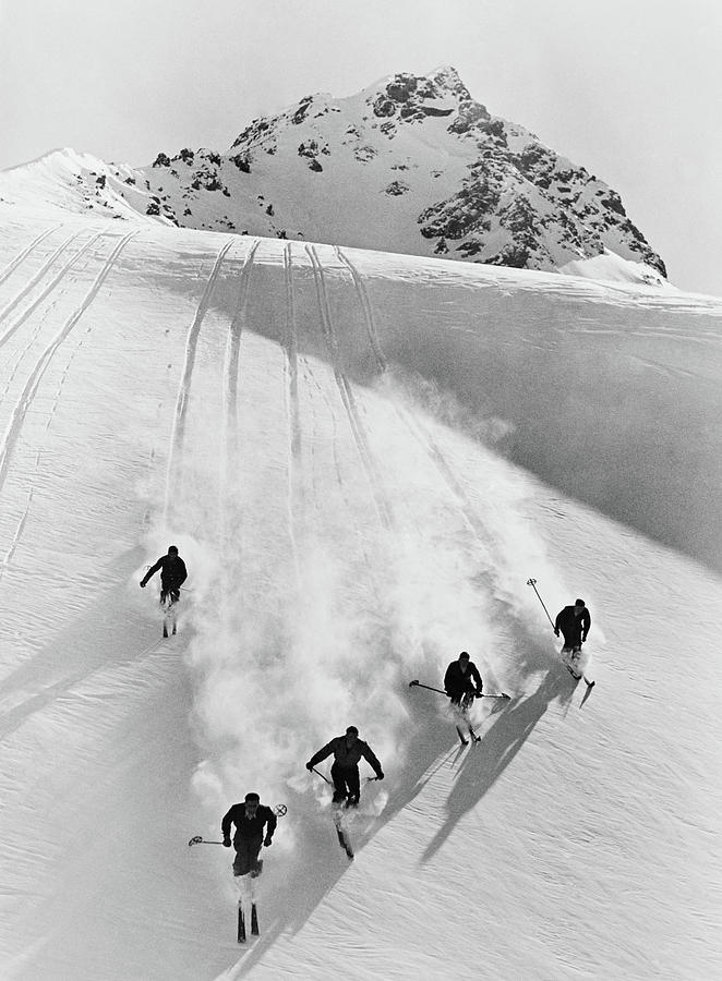 Vertical Photograph - 1920s 1930s Five Anonymous Men Skiing by Vintage Images