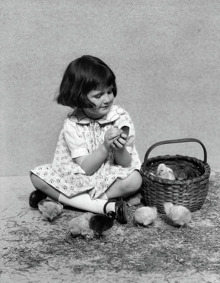 Vertical Photograph - 1920s 1930s Smiling Girl Bobbed Hair by Animal Images