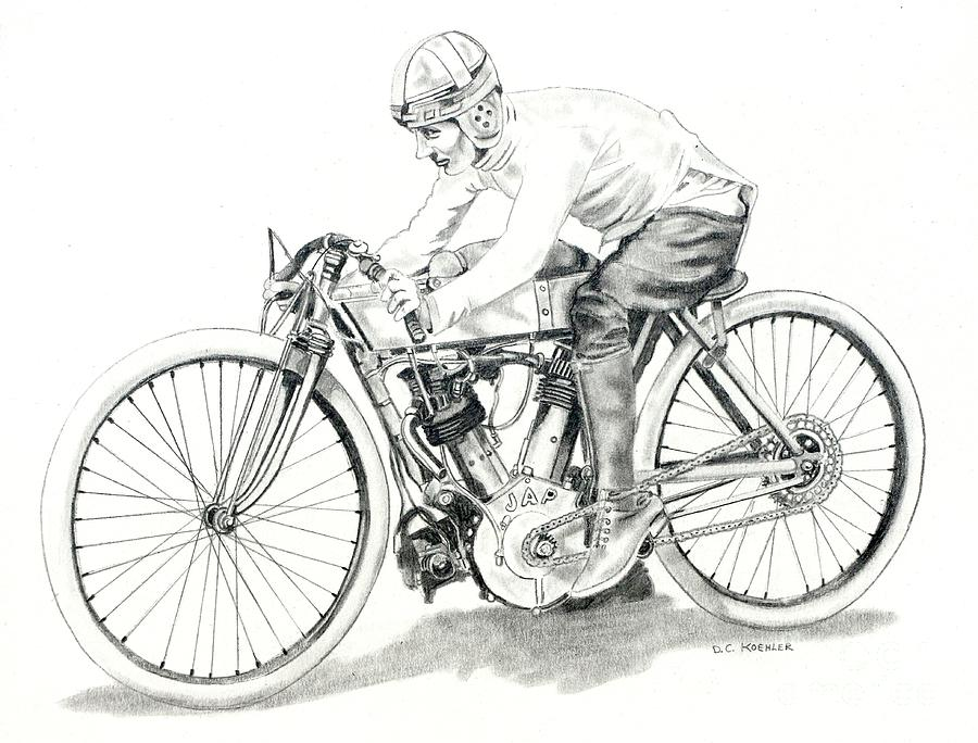 1920s Jap Board Track Racer Drawing By Donald Koehler
