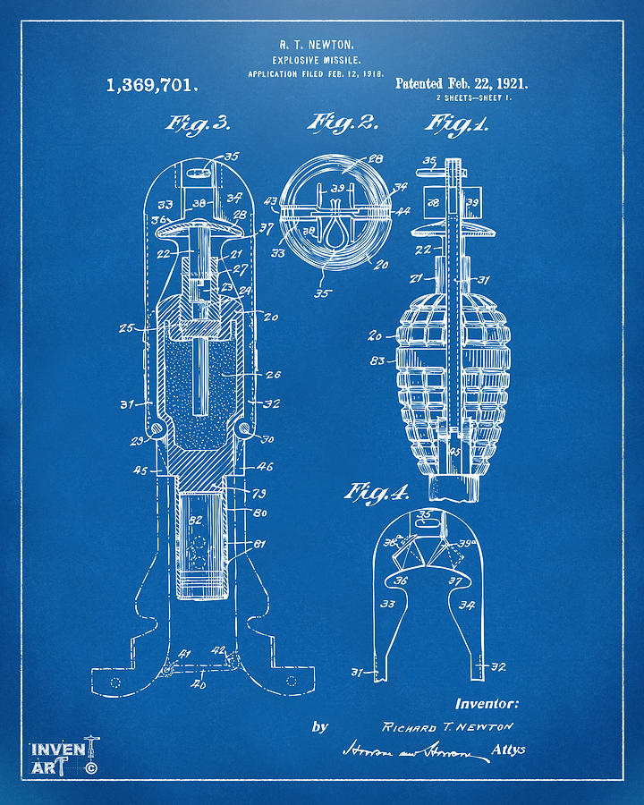 Explosive Missle Drawing - 1921 Explosive Missle Patent Blueprint by Nikki Marie Smith