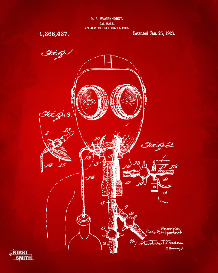 Gas Mask Digital Art - 1921 Gas Mask Patent Artwork - Red by Nikki Marie Smith