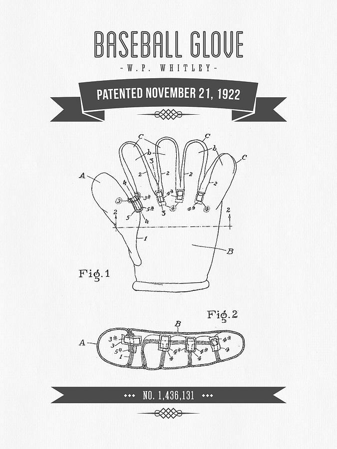 Baseball Digital Art - 1922 Baseball Glove Patent Drawing by Aged Pixel