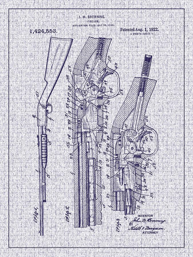 Pump Shotgun Photograph - 1922 Browning Firearm Patent by Barry Jones
