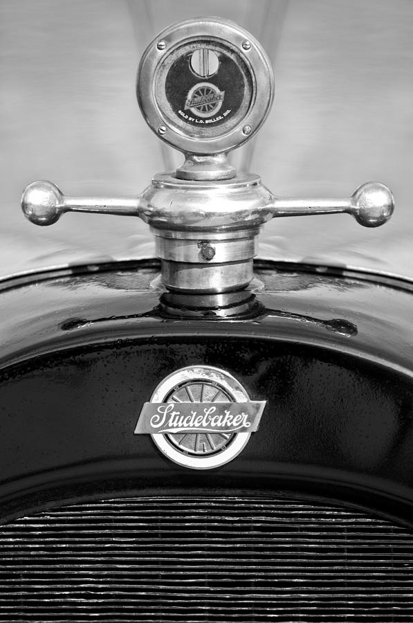Black And White Photograph - 1922 Studebaker Touring Hood Ornament 3 by Jill Reger