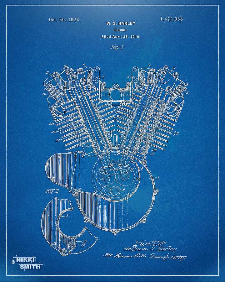 1923 harley davidson engine patent artwork blueprint digital art harley davidson digital art 1923 harley davidson engine patent artwork blueprint by nikki malvernweather Image collections