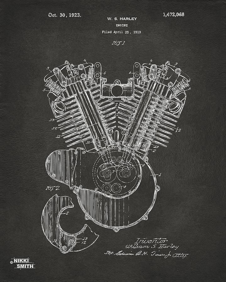 1923 harley engine patent art gray digital art by nikki marie smith harley davidson digital art 1923 harley engine patent art gray by nikki marie malvernweather Images