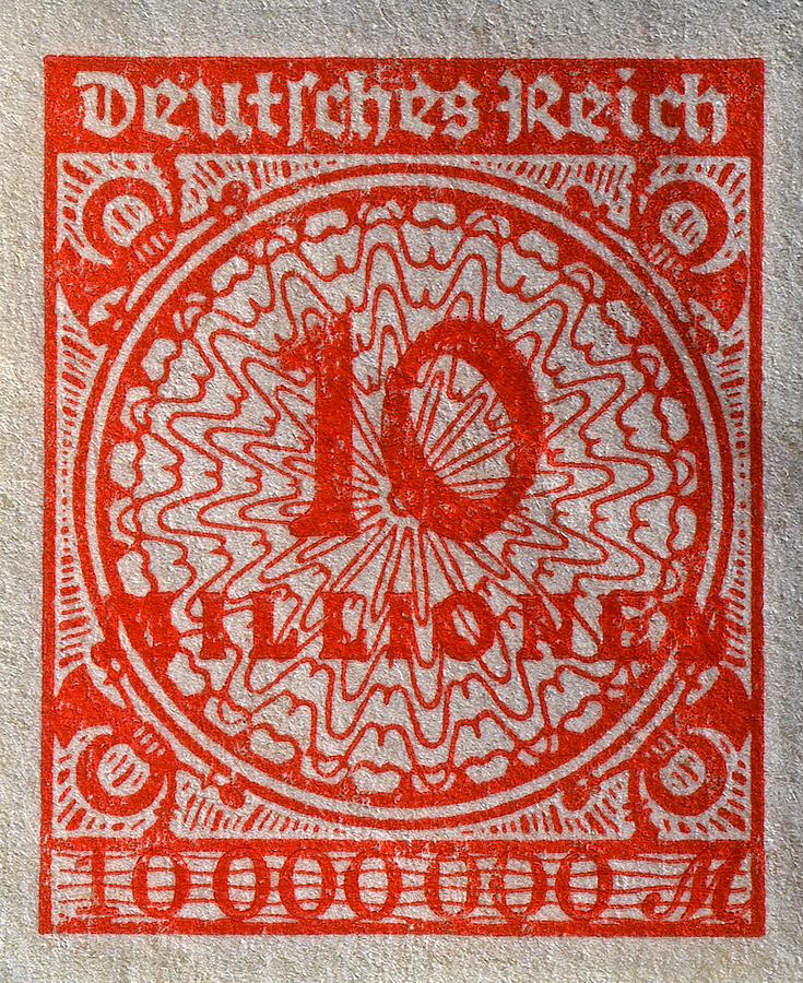 1923 Ten Million Mark German Stamp Photograph By Bill Owen