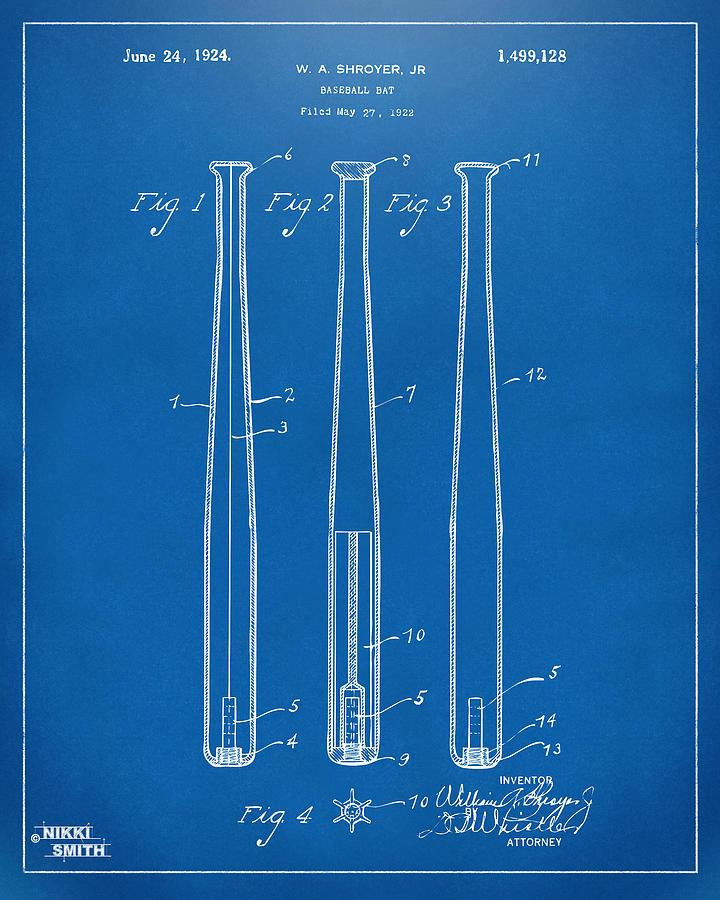 1924 baseball bat patent artwork blueprint digital art by nikki baseball bat digital art 1924 baseball bat patent artwork blueprint by nikki marie smith malvernweather Choice Image