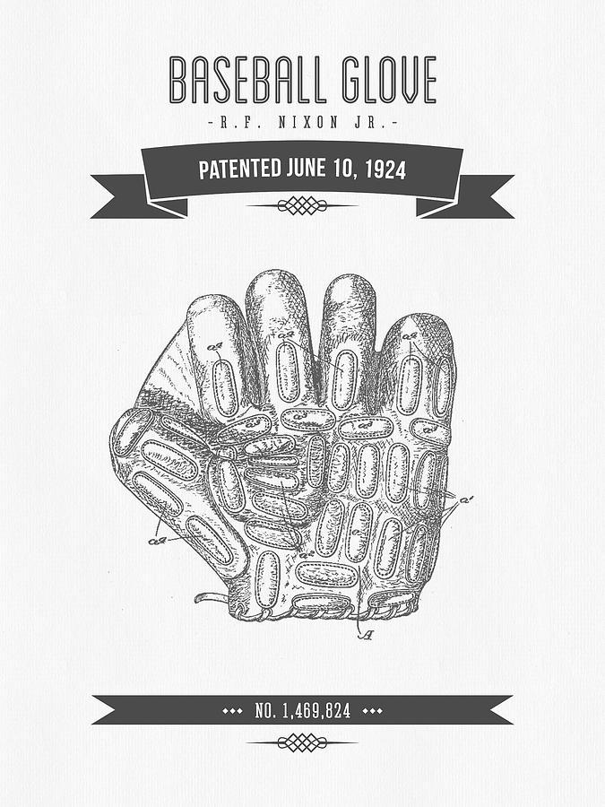 1924 Baseball Glove Patent Drawing Digital Art