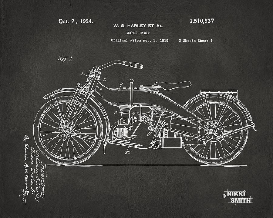 Blueprint art fine art america blueprint digital art 1924 harley motorcycle patent artwork gray by nikki marie smith malvernweather Choice Image