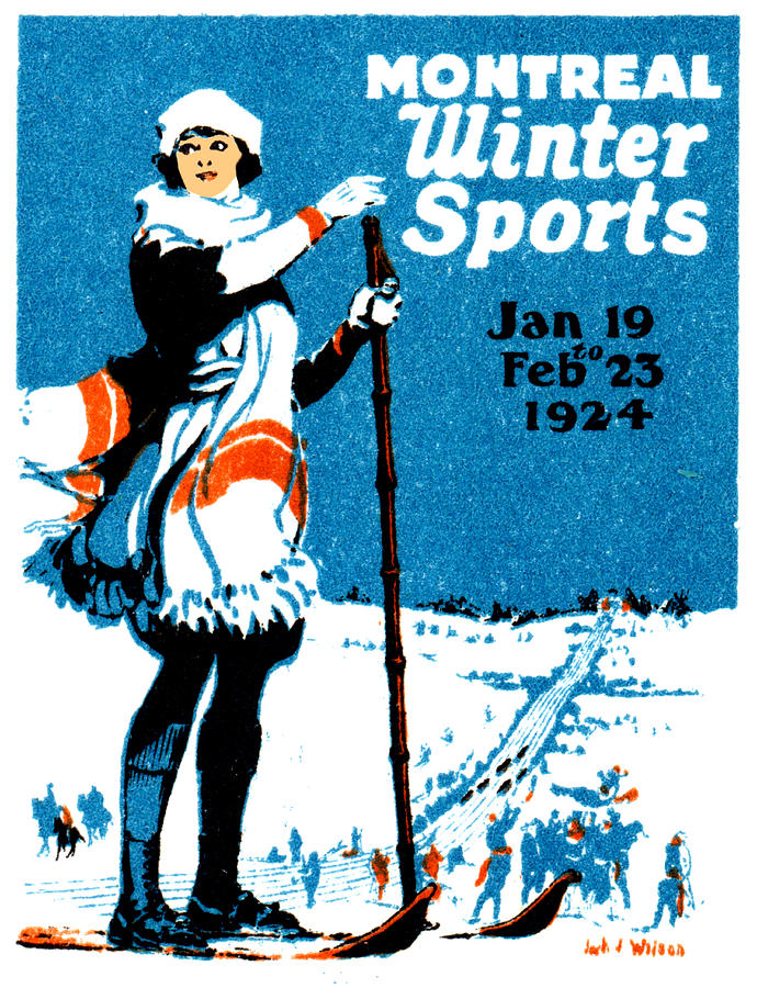 Historicimage Painting - 1924 Montreal Winter Sports Poster by Historic Image