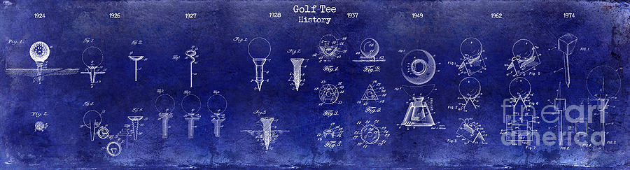Golf Tee Photograph - 1924 To 1974 Golf Tee Patent History Drawing Blue 1924 by Jon Neidert