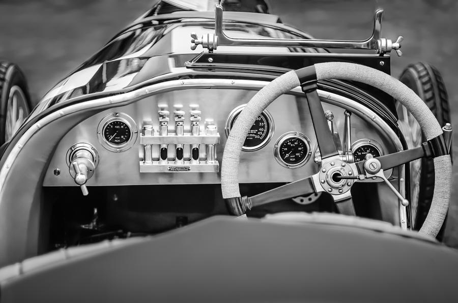 Bw Photograph - 1925 Aston Martin 16 Valve Twin Cam Grand Prix Steering Wheel -0790bw by Jill Reger