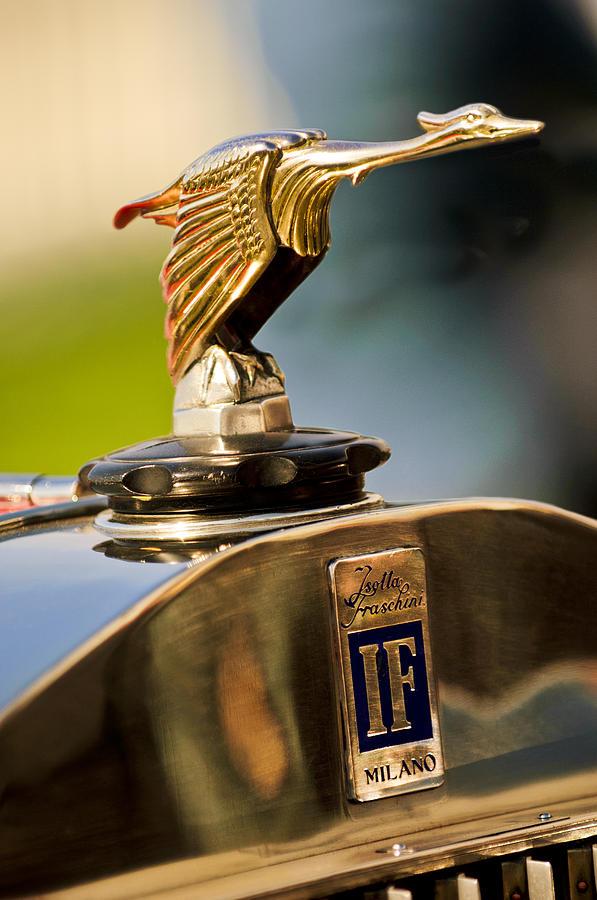 Hood Ornament Photograph - 1925 Isotta Fraschini Tipo 8a S Corsica Boattail Speedster Hood Ornament by Jill Reger