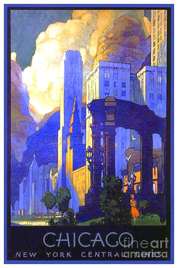 1926 Digital Art - 1926 - New York Central Railroad - Chicago Travel Poster - Color by John Madison