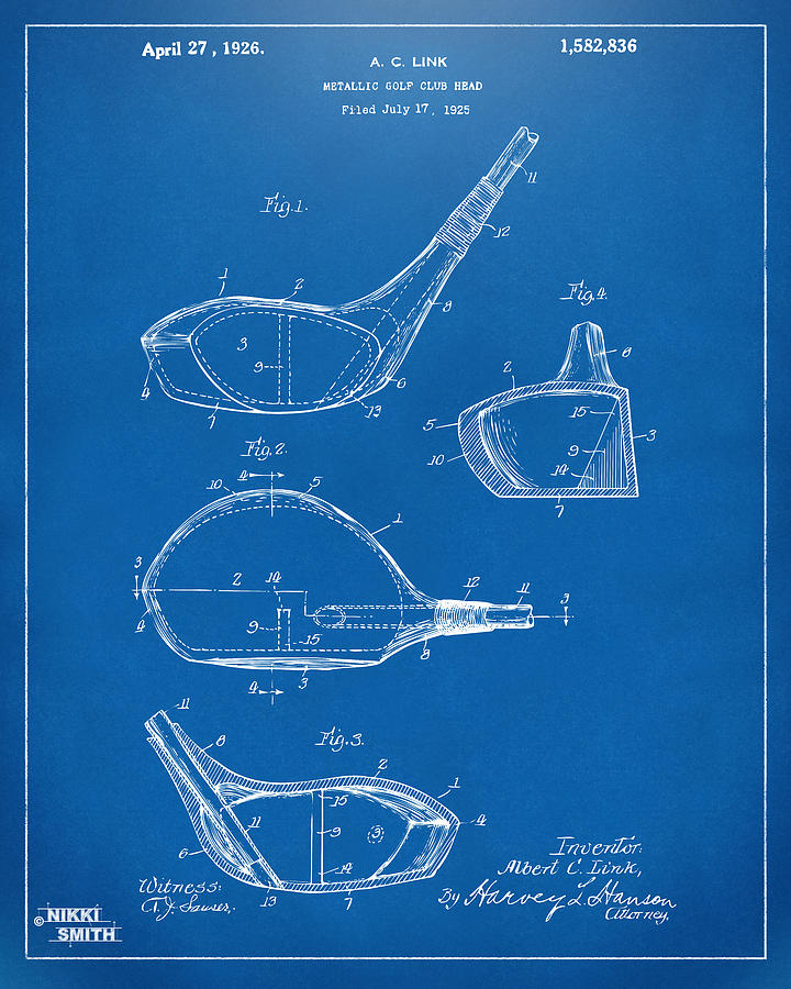 1926 golf club patent artwork blueprint digital art by nikki marie golf digital art 1926 golf club patent artwork blueprint by nikki marie smith malvernweather Image collections