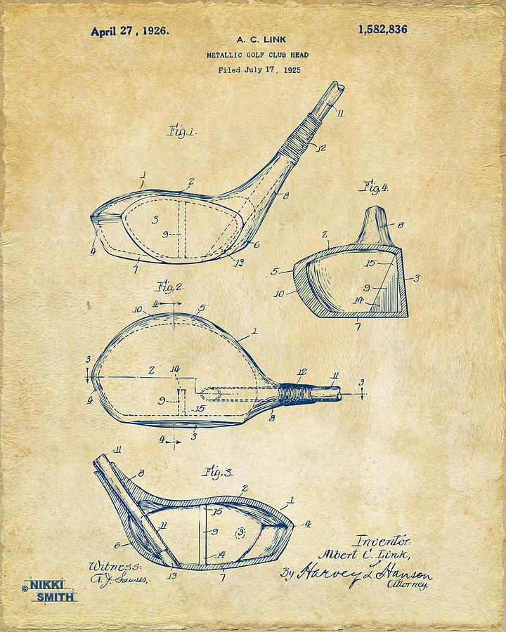 Golf Digital Art - 1926 Golf Club Patent Artwork - Vintage by Nikki Marie Smith