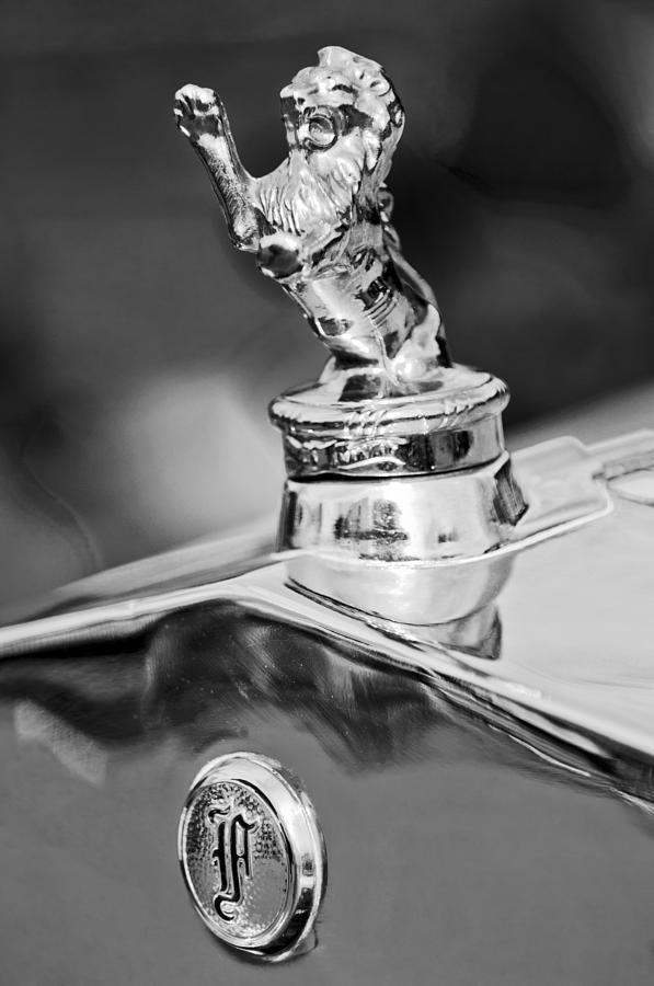Black And White Photograph - 1927 Franklin Sedan Hood Ornament 2 by Jill Reger