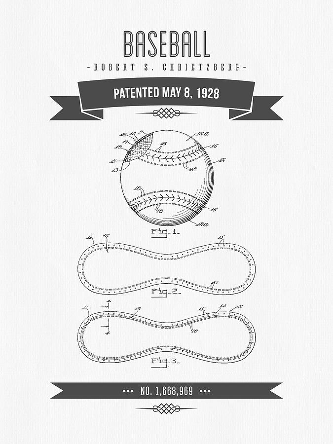 Baseball Digital Art - 1928 Baseball Patent Drawing by Aged Pixel