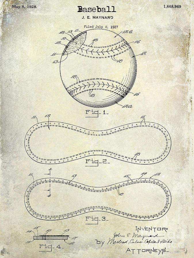 Baseball Patent Photograph - 1928 Baseball Patent Drawing  by Jon Neidert
