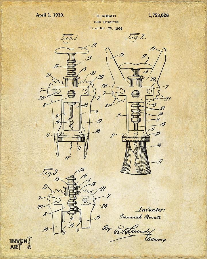 Corkscrew Digital Art - 1928 Cork Extractor Patent Art - Vintage Black by Nikki Marie Smith
