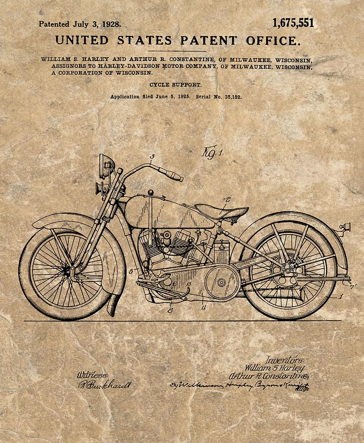 1928 Harley Davidson Drawing - 1928 Harley Davidson Motorcyle Patent Illustration by Dan Sproul
