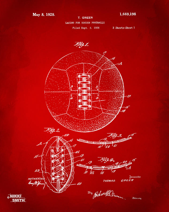 1928 soccer ball lacing patent artwork red digital art by nikki