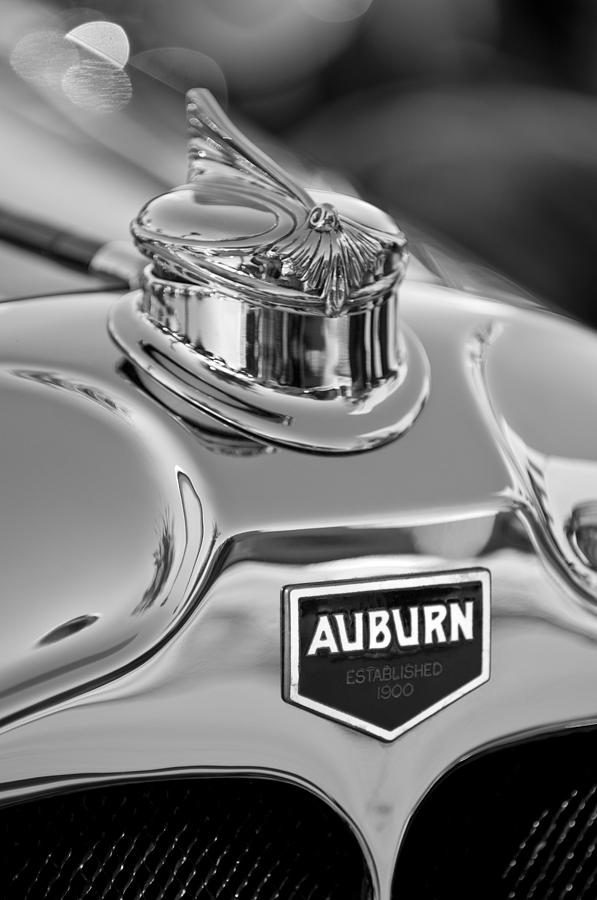 Black And White Photograph - 1929 Auburn 8-90 Speedster Hood Ornament 2 by Jill Reger