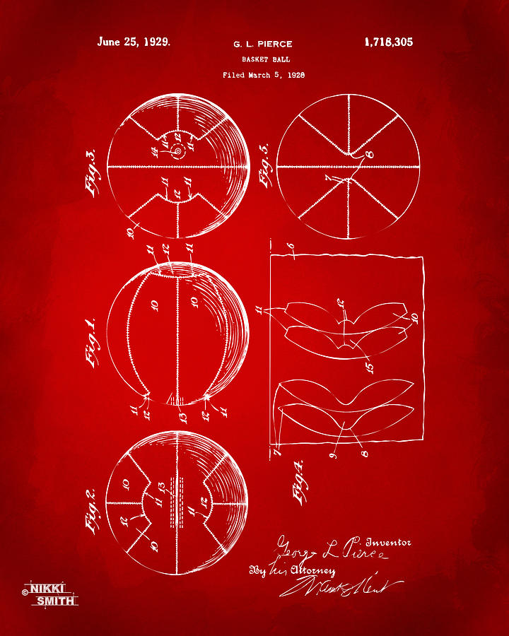 Basketball Digital Art - 1929 Basketball Patent Artwork - Red by Nikki Marie Smith