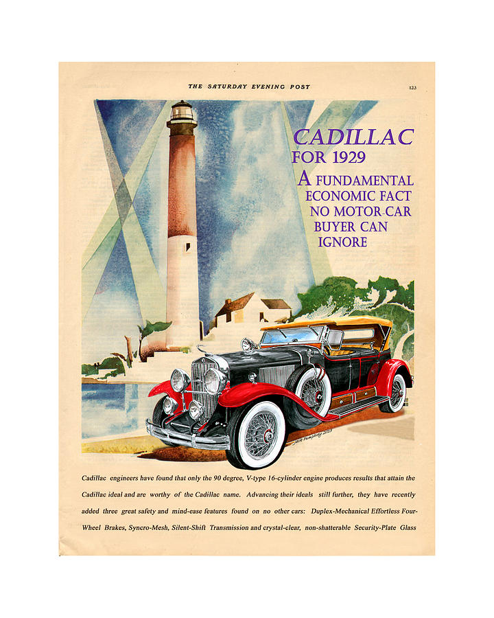 1929 Cadillac Vintage Magazine Ad Painting by Jack Pumphrey