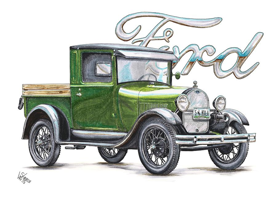 1929 Model A Ford Truck Drawing by Shannon Watts
