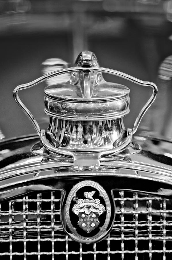 Black And White Photograph - 1929 Packard 8 Hood Ornament 4 by Jill Reger