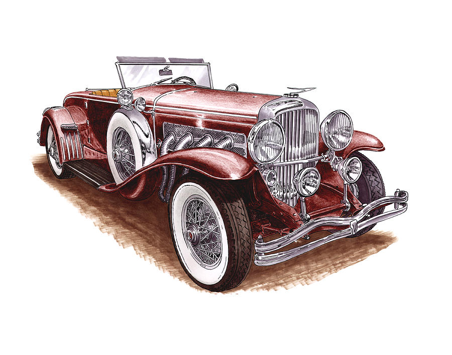 Classic Mixed Media - 1930 Dusenberg Model J by Jack Pumphrey
