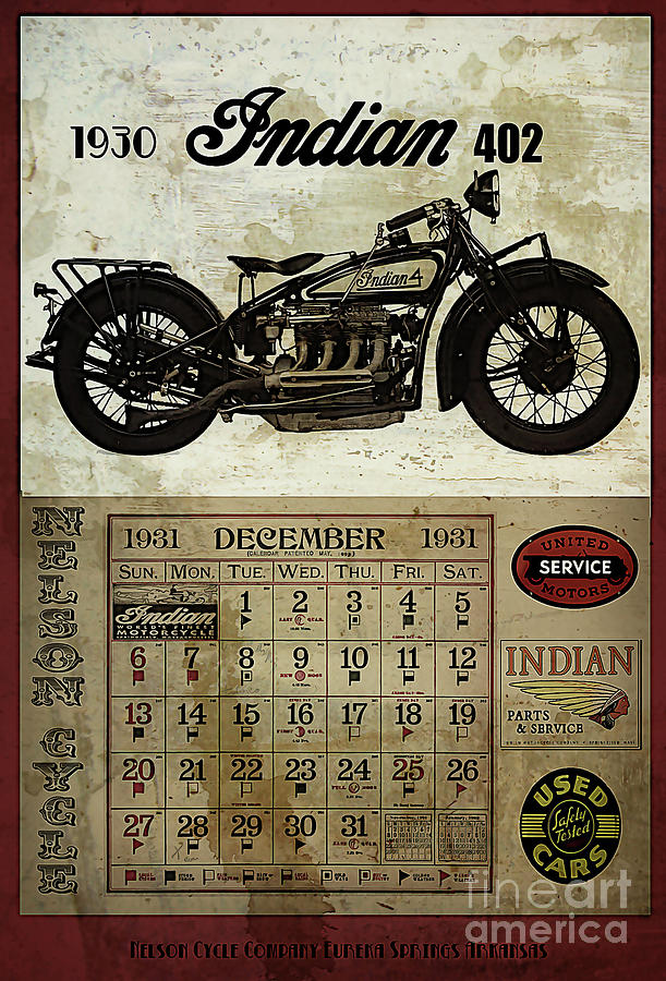 Motorcycle Digital Art - 1930 Indian 402 by Cinema Photography