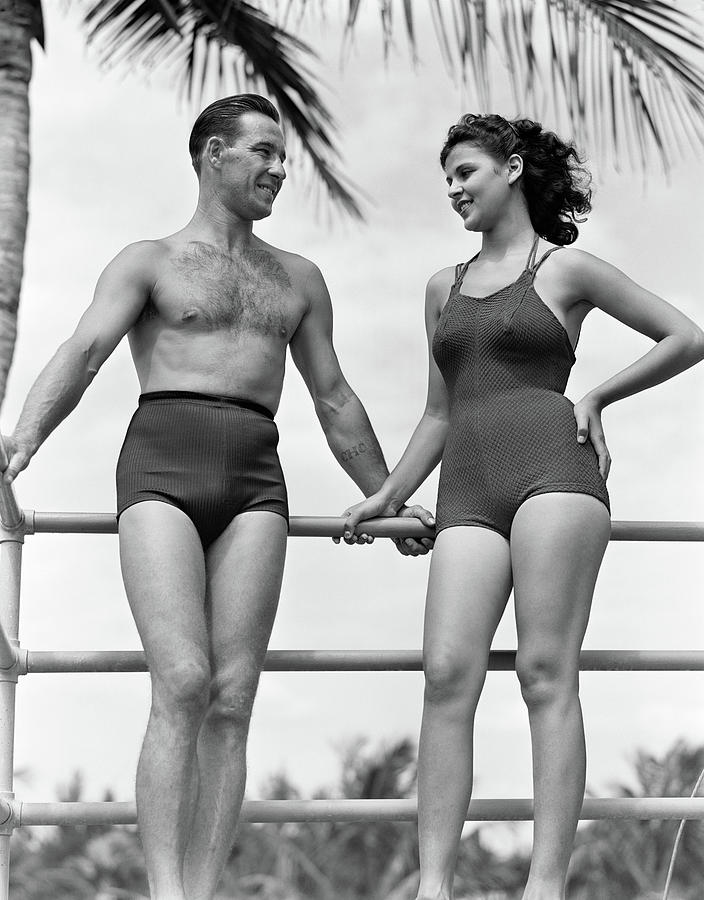1930s 1940s Couple In Bathing Suits Photograph by Vintage