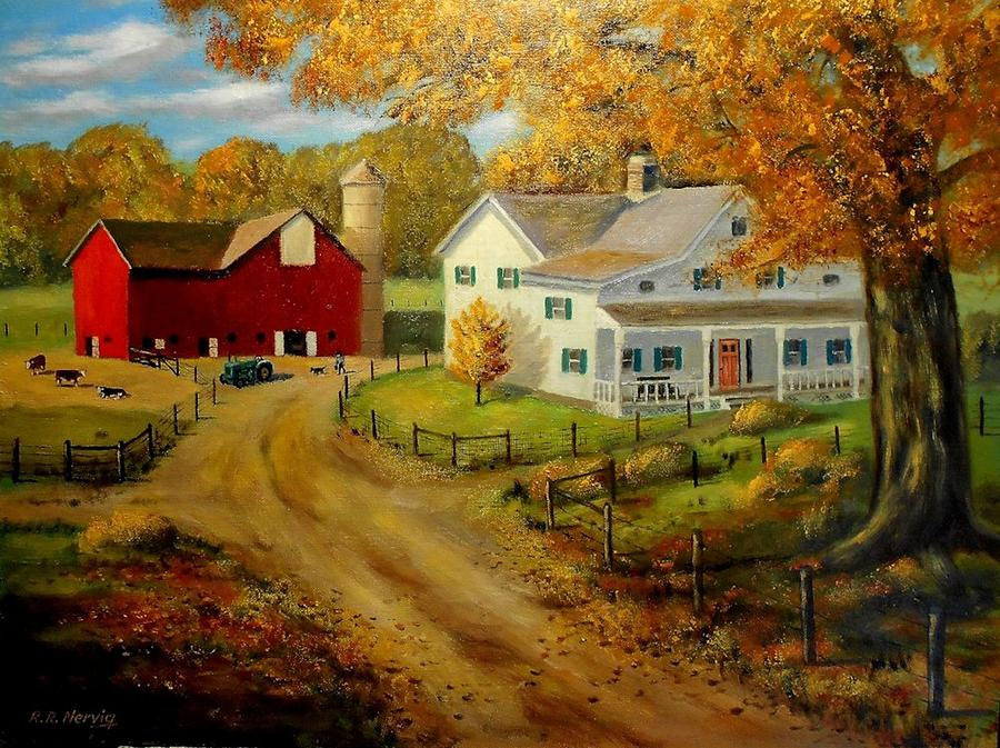 1930 S Farm Painting By Richard Nervig